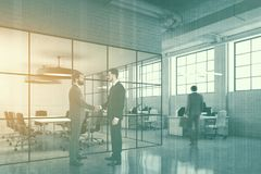 White brick open space, meeting room side double Royalty Free Stock Images