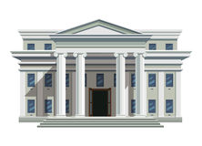 White brick public building with high columns. Front view of court house, bank, university, governmental institution. White brick public building with high vector illustration