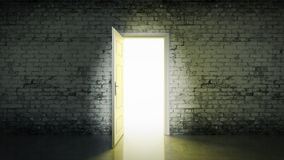 White brick room and open door light Stock Images