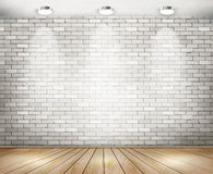 White brick room with spotlights. vector illustration