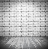 White brick room with wooden floor Stock Photo