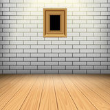 White brick room with wooden floor Stock Photography