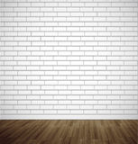 White brick room with wooden floor. Vector illustration background Royalty Free Stock Photography