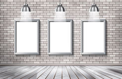 White brick show room with spotlights. Royalty Free Stock Photo