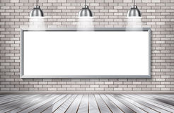 White brick show room with spotlights. royalty free illustration