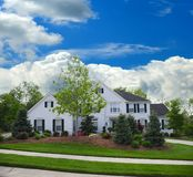 White Brick Suburban Home Stock Images