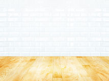 White brick tile wall and wood parquet floor Stock Photography