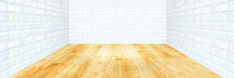 White brick tile wall and wood parquet floor Stock Photo