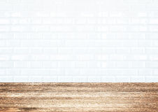 White brick tile wall and wood plank floor Stock Photo