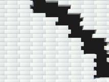 White brick wall. Destroyed. hole Royalty Free Stock Image