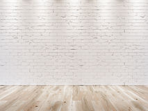 WHITE BRICK WALL AND WOODEN FLOOR Stock Photo