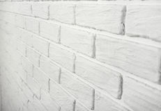 White brick wall, angle view, abstract background photo Stock Photo