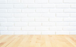 White brick wall background with perspective light wood, slightl Stock Image