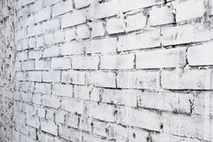 White brick wall background in perspective Stock Photography