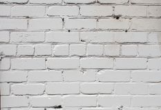 White brick wall background in rural room, Royalty Free Stock Photography