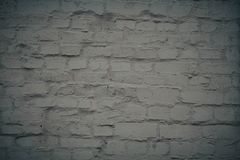 White brick wall background in rural room. Grunge design abstract frame pattern vintage texture broken cement concrete plaster rough surface stonewall obsolete stock images
