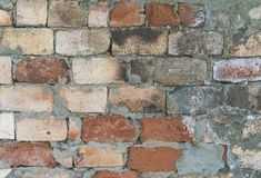 Background of old vintage dirty brick wall with peeling plaster, texture royalty free stock image