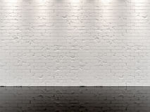 WHITE BRICK WALL AND BLACK GLOSSY FLOOR Royalty Free Stock Image