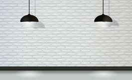 White brick wall with black lamps in vector vector illustration