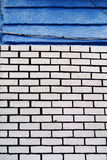 White brick wall and blue Royalty Free Stock Image