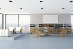 White brick wall CEO office interior, poster. White brick wall office interior of a company leader with a concrete floor, loft windows and wooden furniture. A vector illustration