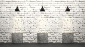 White brick wall with chandeliers 3D rendering Royalty Free Stock Photos