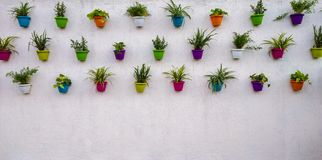 white brick wall with colorful plants and pots hanging on it royalty free stock photo
