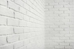 White brick wall with corner, abstract background photo Royalty Free Stock Photography