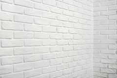 White brick wall with corner, abstract background photo Royalty Free Stock Photo