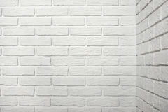White brick wall with corner, abstract background photo Royalty Free Stock Image