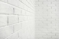 White brick wall with corner, abstract background photo Royalty Free Stock Photos