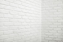 White brick wall with corner, abstract background photo Stock Photos