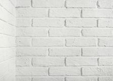 White brick wall with corner, abstract background photo Stock Image