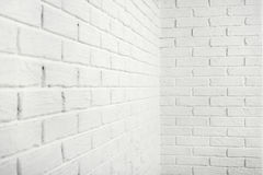 White brick wall with corner, abstract background photo Stock Images