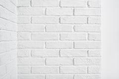 White brick wall corner, abstract background photo Royalty Free Stock Photos
