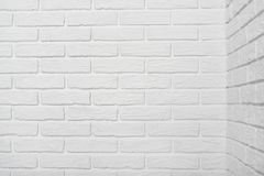 White brick wall corner, abstract background photo Royalty Free Stock Photo