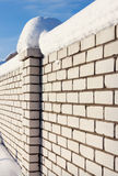 White Brick wall, covered with snow Royalty Free Stock Photo