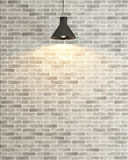 White brick wall decoration under the spot light rendering. Interior brick wall decoration, interior wall pattern and background Royalty Free Stock Images