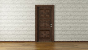 White brick wall with door royalty free stock photography