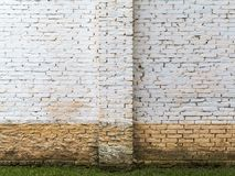 White brick wall with flood dirt mark on a farm house. In brazil - horizontal royalty free stock photo