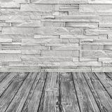 White brick wall and gray wooden floor.Web banner Stock Photos