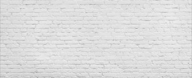 White brick Wall panorama. White brick wall high resolution panorama. Home and office modern design backdrop Royalty Free Stock Photos