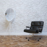 White Brick Wall Interior With Black Leather Office Armchair royalty free stock photos