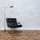 White Brick Wall Interior With Black Leather Office Armchair stock photo