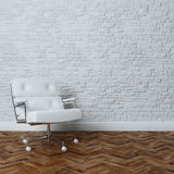 White Brick Wall Interior With White Leather Office Armchair Stock Photo