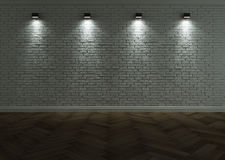 White brick wall with lighting Royalty Free Stock Images