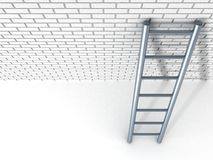 White brick wall and metal ladder Royalty Free Stock Photo