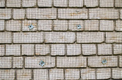White brick wall metal wire net attached renovate Royalty Free Stock Photography