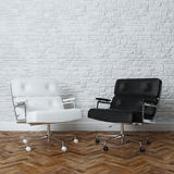 White Brick Wall Office Interior With Two Leather Armchairs Royalty Free Stock Photography