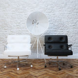 White Brick Wall Office Interior With Two Leather Armchairs Royalty Free Stock Photo